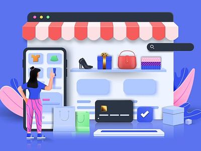 Online Shopping 3D Concept concept app uiux ux ui 3d interface business banner technology application illustration user interface web development web design website online store online shopping online web