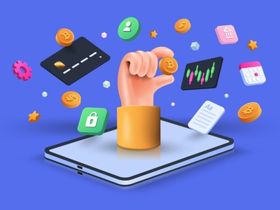 Crypto Trading 3D Concept bitcoin concept app ux ui 3d interface business banner technology application online illustration user interface web development web design website web cryptocurrency crypto