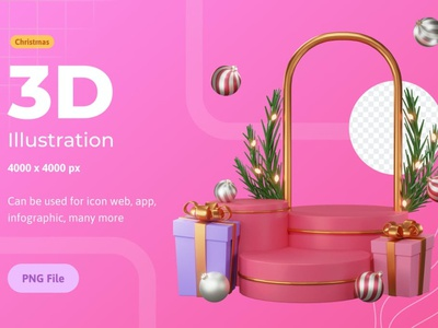 3d Illustration Christmas, With Podium icon vectors banner landing page landing website agency corporate company illustration vector isolated concept design flat screne isometry isometric 3d christmas