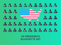 US Presidents Silhouette Set