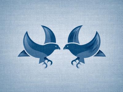 Bluebirds blue texture logo icon illustration