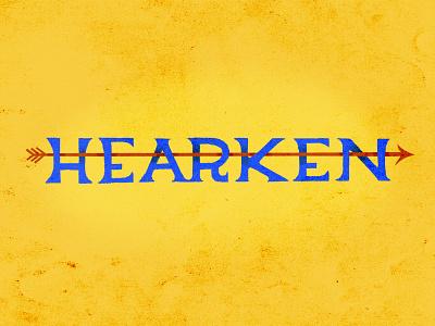 Hearken blue yellow arrow hearken procreate typography