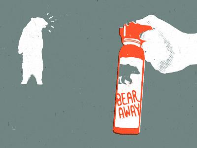 Bear Away backpacking bear spray bear red orange illustration