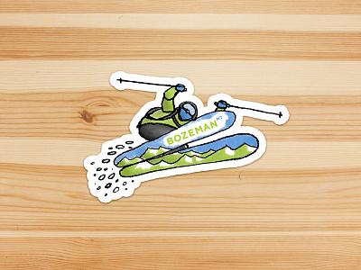 Stuck on Bozeman sticker water bottle skiing montana bozeman illustration stickers