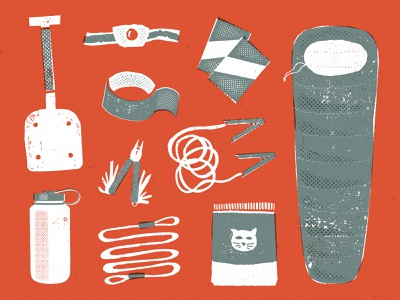 Things to Bring: Winter Road Trip knolling gear list adventure outdoors gear green red orange vector illustration