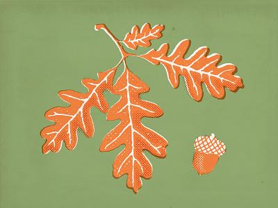 White Oak oak leaves halftone vector nature illustration