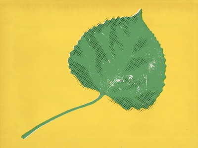 Quakie aspen leaves halftone vector nature illustration