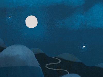 Night Rider gouache stars mountains trail moon blue photoshop illustration