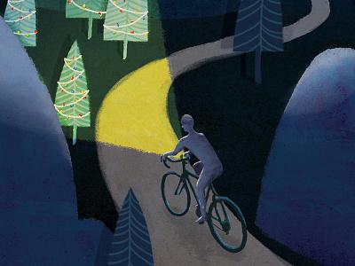 Night Rider II night holiday christmas illustration bikes cycling