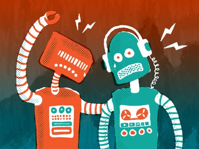 Sad Robots karabiner studios colorado red blue character design illustration vector robots