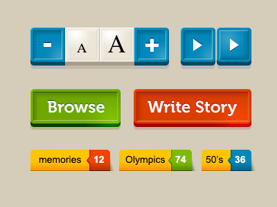 Ui Sample ui buttons tag text size colorful