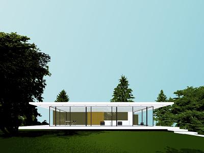 Glass House glass house modern illustration