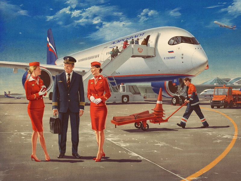 Ready for Takeoff x Aeroflot 50s boardgame aviation illustration retro vintage