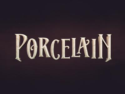 Porcelain porcelain lettering cinematic logo poster illustration