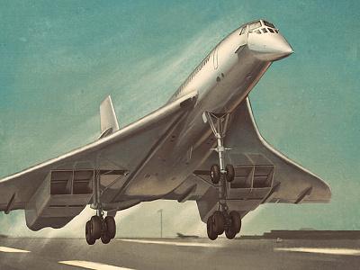 Concorde takeoff concorde plane airplane airline illustration aircraft vintage retro