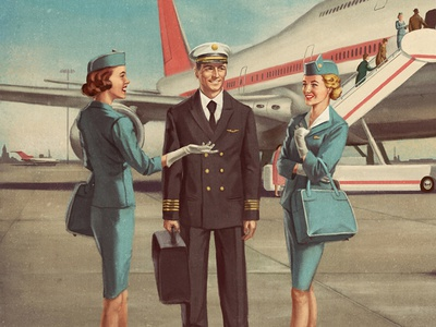 Box cover pan am boeing captain stewardess aircraft aviation vintage retro illustration