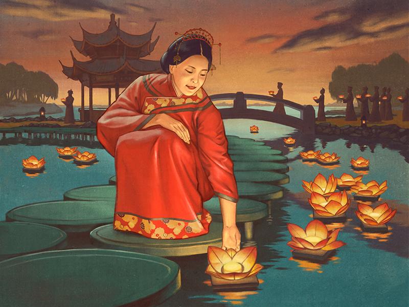 Lanterns sunset lake festival lanterns kimono china vintage retro boardgame illustration