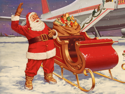 Happy New Year! santa claus new year night snow boeing aircraft aviation retro illustration vintage christmas