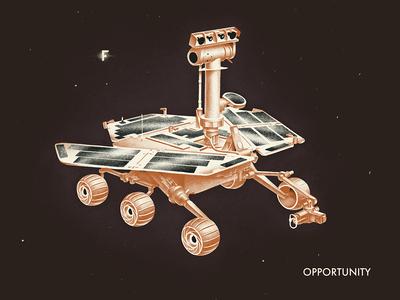 Opportunity opportunity rover mars space 60s soviet vintage graphics illustraiton