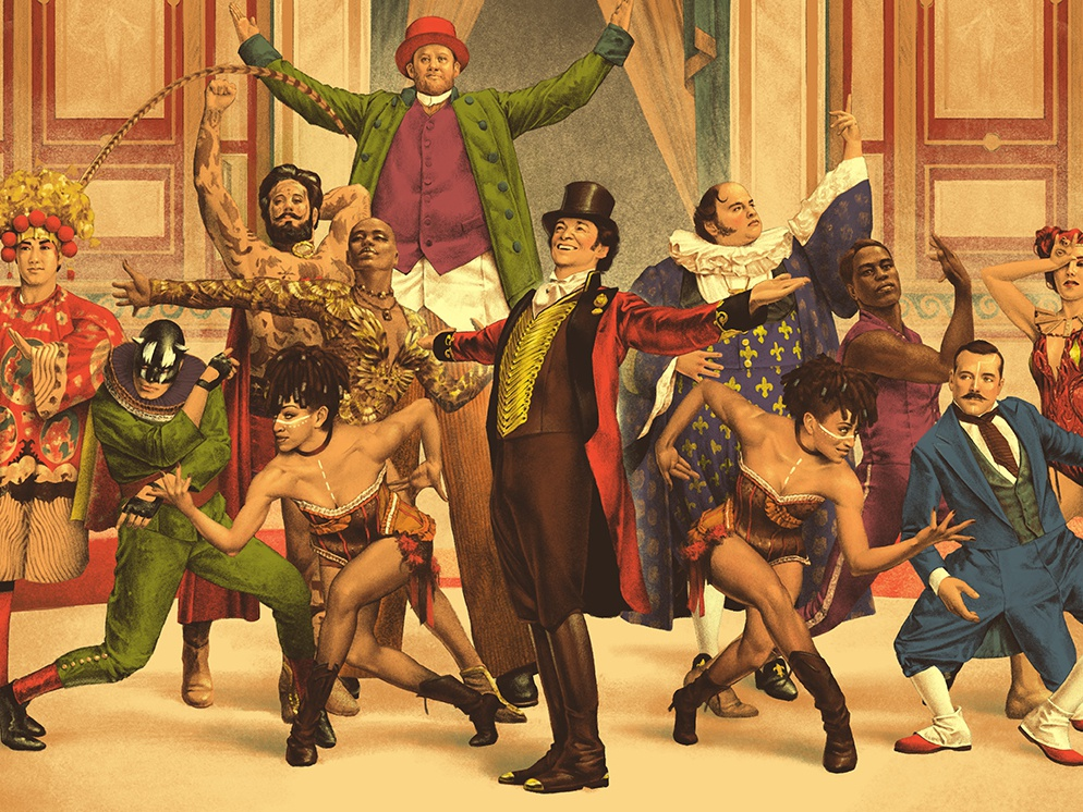 The Greatest Showman poster dancers circus retro vintage illustration