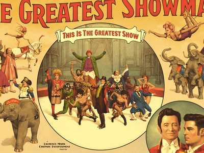 """The Greatest Showman"" poster artist horse elephant poster circus retro illustration vintage"
