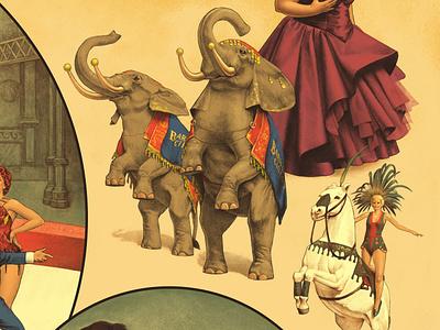 """The Greatest Showman"" poster horse elephant circus retro illustration vintage"