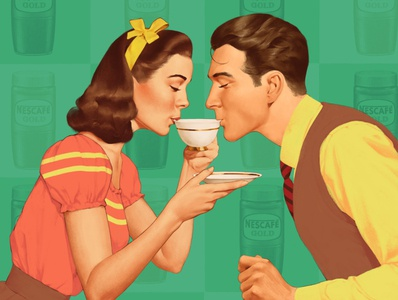 Coffee time 50s advertising illustration retro vintage
