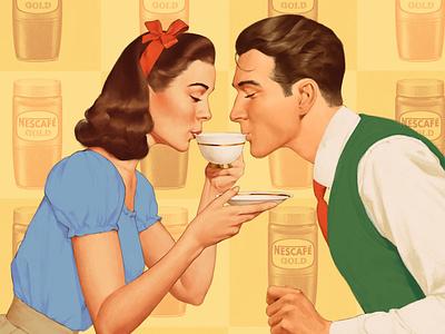Coffee time 50s illustration retro vintage