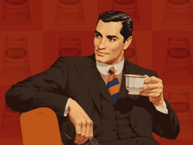Coffee time 50s ads vintage illustration retro