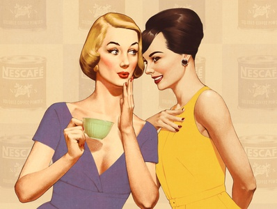 Coffee time 50s illustration retro vintage