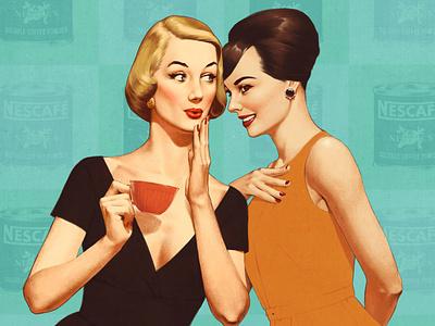 Coffee time advertising 50s illustration retro vintage