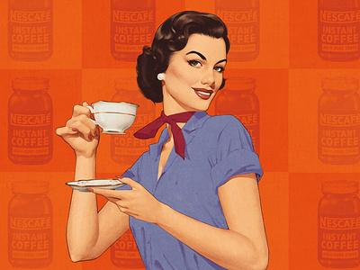 Coffee time 50s vintage retro illustration