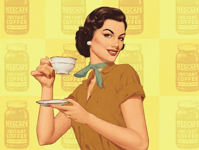 Coffee time ads 50s illustration retro vintage