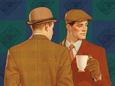 Coffee time coffee ads 30s illustration retro vintage