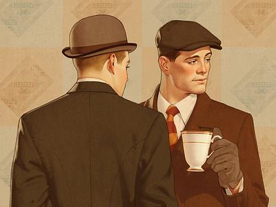 Coffee time coffee ads 30s illustration retro vintage