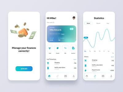 Finance app UI ui design mobile app concept app design logo graphic design branding illustration figma 3d ui inspiration finance app design bank