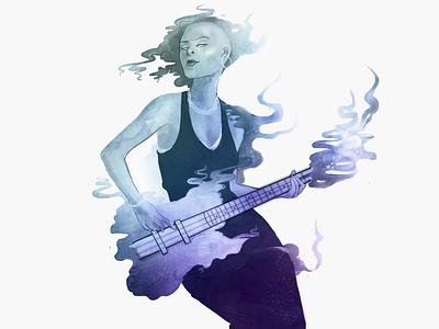 Air Guitar image musician girl purple guitar music icon web design illustration