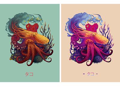 Octopi poster print ocean branding logo illustrator octopus logo merch design illustration design