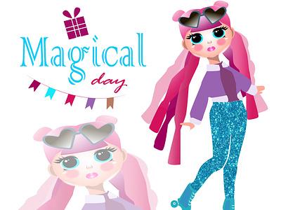 Magic day doll L.O.L iilustration birthday birthday picture magic day doll lol magicday doll lol 3d logo graphic design creative draw artist design illustration