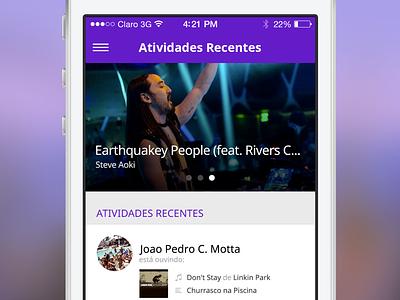 Music App recent activities  iphone app ios ios7 minimal minimalist tipography