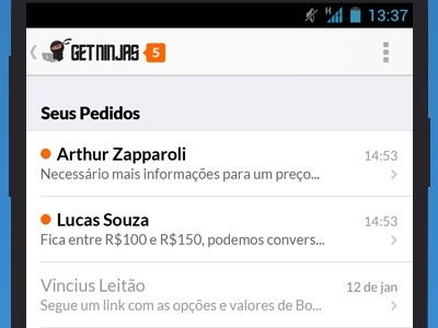 GetNinjas Android App app android lato list