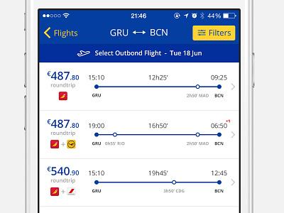 Flight selection tipography minimalist ios8 minimal ios iphone app flight list flight select flight