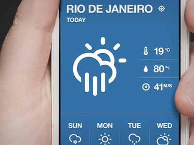 Color Weather weather app iphone ios minimal tipography minimalist climacons helvetica