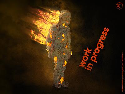2020 tlen fun photoshop blender3dart flamig ass routine year in fire 2020 design character