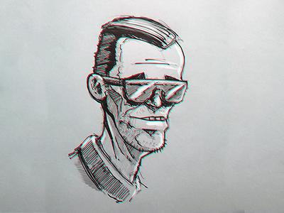 hehe man gel-pen scribble sketch man heh