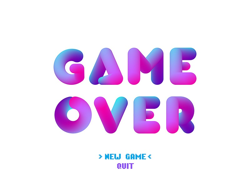 Game Over Vector 3d Bubble Letters Light Background By Andrey