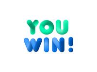 You Win 3d Bubble Letters