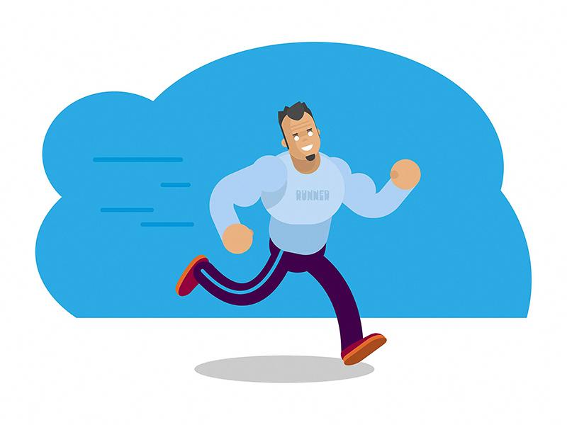 Runner illustration vector flat speed fast health lifestyle sport forest run man