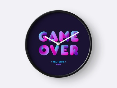 Clock Go times up print shop buuble letters game over redbubble