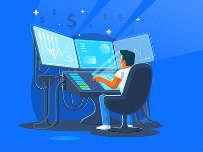 Forex Master Trader profit ai vector illustration flat copytrading master forex